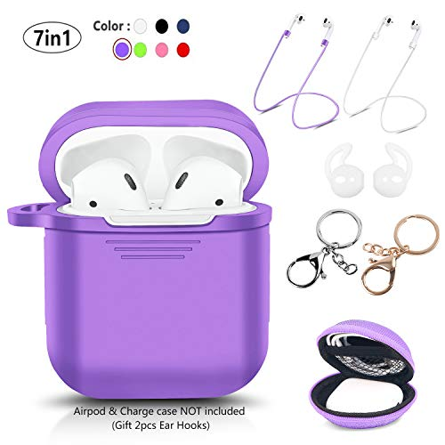 LKDEPO 7 in 1 Airpods Case Accessories Set Compatible with Apple AirPods 2 & 1 [Front LED Not Visible] [Include Protective Silicone Case Cover/Ear Hook/Keychain/Strap/Travel Coin Bag] (Purple)