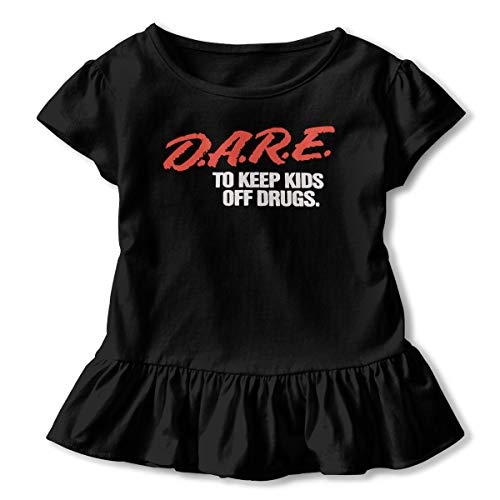 Dare to Keep Kids Off Drugs T-Shirt Baby Girl Flounced T Shirts Cartoon Graphic T-Shirt for 2-6T Baby Girls Black