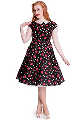 Hell Bunny Francine Tattoo 50s Retro Swing Pin Up Rockabilly Black Dress (M) (50s Tattoos)