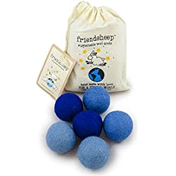 Friendsheep Eco Wool Pet Toy Ball - Cat, Ferret, Small Dog - Fair Trade, Handmade in Nepal, Eco-Friendly - 100% Wool, 6-Pack (Balls x6, True Blue)