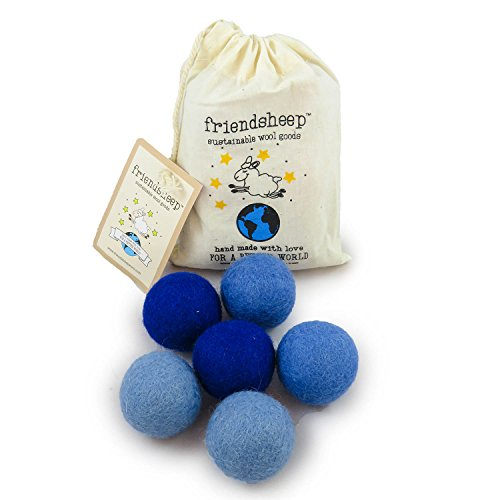 - Friendsheep Eco Wool Pet Toy Ball - Cat, Ferret, Small Dog - Fair Trade, Handmade in Nepal, Eco-Friendly - 100% Wool, 6-Pack (Balls x6, True Blue)