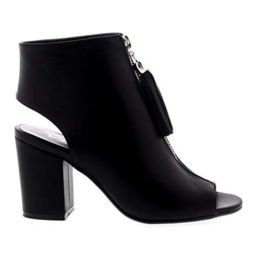 Damen Ausgeschnitten Peep Toe Faux Leder Schuhe Party Quaste Sandalen Schwarz