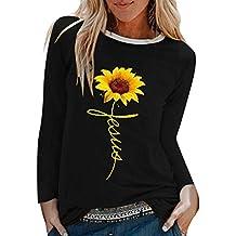 WUAI-Women T-Shirts, Print Slim Fit Tunic Tops Blouse Camisas Para Mujeres