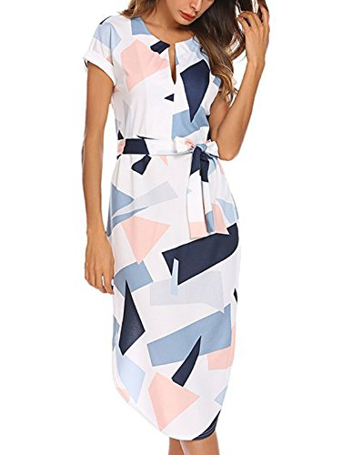 Temofon Womens Dresses Summer Casual Floral Geometric Pattern Short Sleeve Midi V-Neck Party Dress with Belt White M