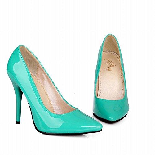 Mee Shoes Damen Stiletto Slip On Lackleder Pumps Mint Grün