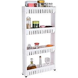 HOMFA 4-Tier Gap Kitchen Storage Slim Slide Out Tower Rack Shelf with Wheels, Utility Trolley Organization Serving Cart on Casters