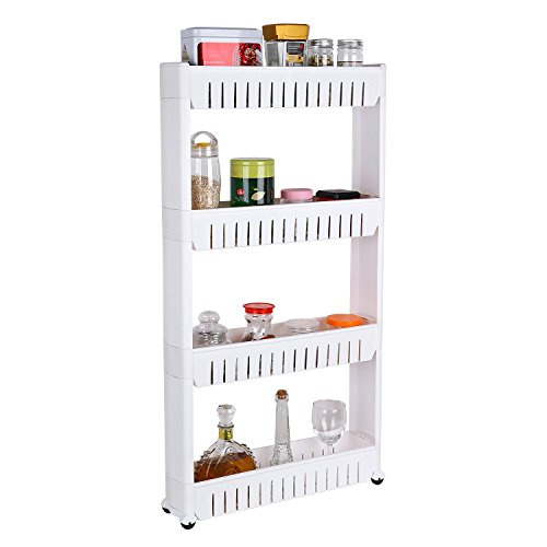 Cheap Homfa 4-Tier Gap Kitchen Storage Slim Slide Out Tower Rack Shelf with Wheels, Utility Trolley Organization Serving Cart on Casters