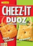 Sunshine, Cheez-It Baked Snack Crackers, Duoz, Sharp Cheddar & Parmesan, 12.4oz Box (Pack of 4)