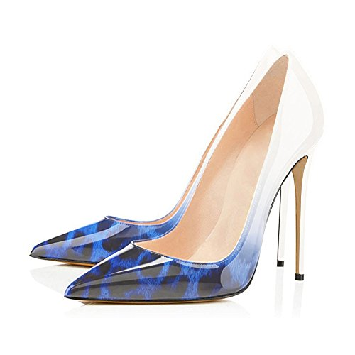 onlymaker Women's Pointed Toe Stilettos High Heel Slip On Dress Pumps Court Shoes Pumps High Heel Court Shoes Snake-White and Blue pkVU4wE2
