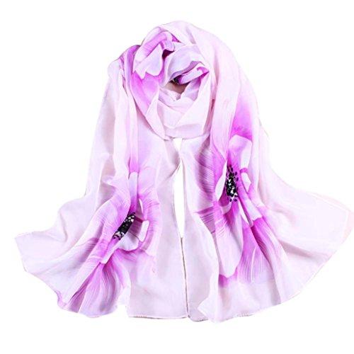 Silk Scarf,Han Shi Women Soft Chiffon Flower Printed Voile Wrap Shawl Muffler Stole (L, Purple)