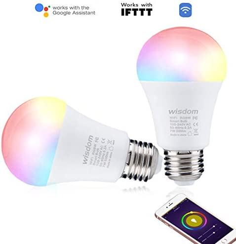 Smart LED Bulb WiFi Dimmable E27 Multicolor Light Bulb Compatible with Alexa Echo, Google Home IFTTT No Hub Required ,Wisdom A19 16million Colors and Positive White RGBW Color Changing Bulb 7W 2pack