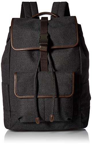 Black Backpack Men's Rucksack Leather Trim Defender Fossil wYS71qS