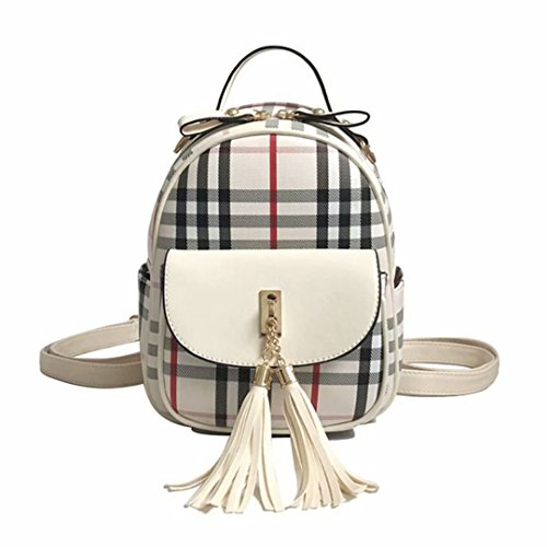 student PU fashion leather fresh plaid small white female small backpack C backpack dudubaobei casual bag simple tSafRwwxq
