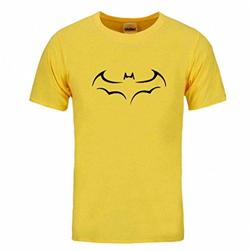 Cotton Men T Shirt Casual Short Sleeve T-Shirt For Men Batman Print Men T Shirt Crewneck Mens Tee Shirt Yellow and black XXL
