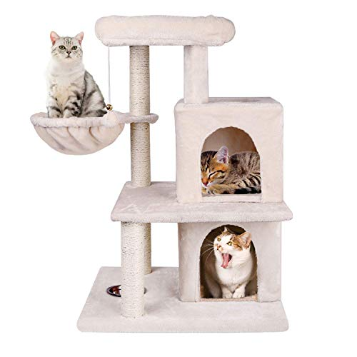 o Furniture Kitten Activity Tower, Sturdy Cat Tree with Feeding Bowl, Cozy Basket with 2 Condos (Beige) ()