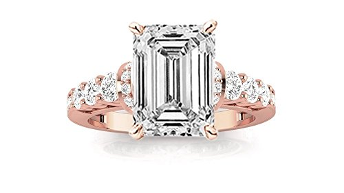 14K Rose Gold 1.36 CTW Designer Four Prong Pave Set Round Diamonds Engagement Ring w/ 0.51 Ct GIA Certified Emerald Cut F Color VVS2 Clarity Center ()