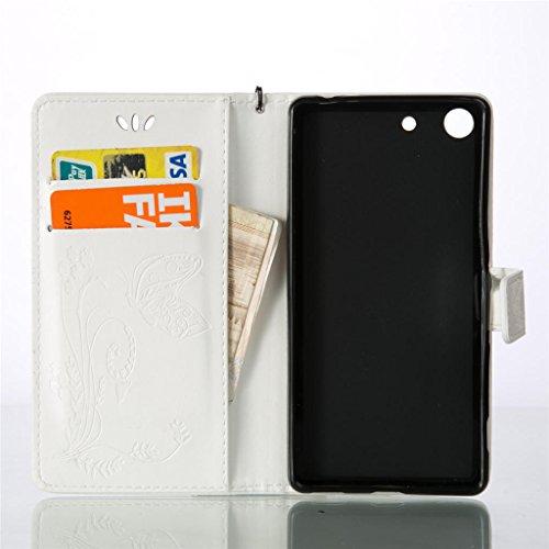 Erdong® Magnético Folio Flip Caso Con pata de cabra titular de la tarjeta Para Sony Xperia M5, Elegant Simple Book-style [Blanco flor de mariposa] patrón de impresión cuero del soporte Folio Pouch Pro