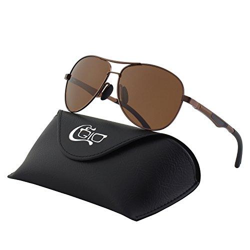 CGID GA61 Premium Al-Mg Alloy Aviator Polarized Sunglasses UV400, Full Mirrored Spring Hinges Sun Glasses for Men - Sunglasses Carbon Elements