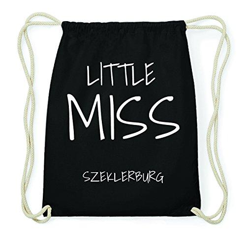 JOllify SZEKLERBURG Hipster Turnbeutel Tasche Rucksack aus Baumwolle - Farbe: schwarz Design: Little Miss 3B4ml
