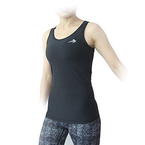 Compression Tank Top (Black-XL) Women's Racerback Sleeveless Sports Tee