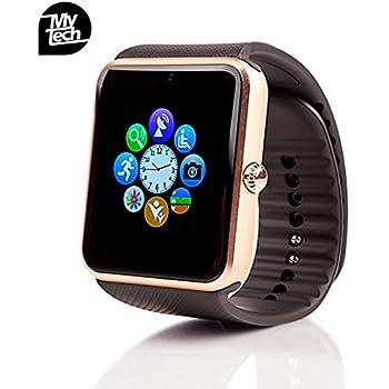ab194babcc53 MyTECH Smartwatch GT Bluetooth Cámara Pantalla Touch Reloj Inteligente con  Ranura Chip Micro SIM y Memoria MicroSD- Compatible iOS Android (Dorado)