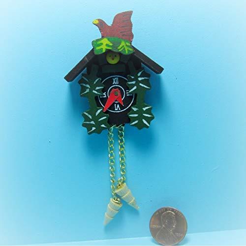 Dollhouse Wall Fancy Painted Cuckoo Clock KL0816 - Miniature Scene Supplies Your Fairy Garden - Doll House - Outdoor House Decor