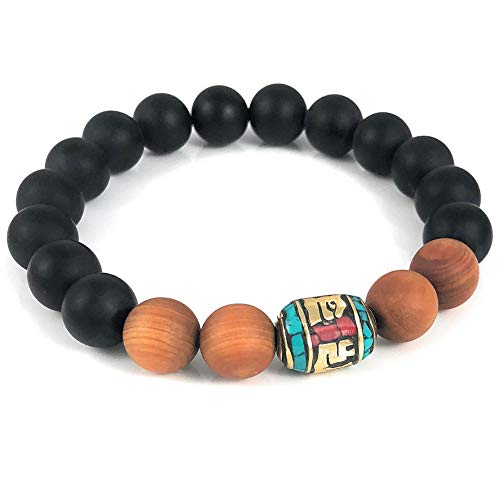 - Ballari Mens Onyx and Sandalwood Bracelet, 10mm Black Bead Bracelet for Men, Tibetan Bead Bracelet for Men, Mens Turquoise Buddhist Bead Bracelet