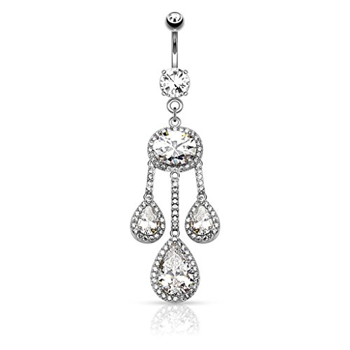 BodyJewelryOnline Dangle Belly Ring - 3 Pear CZ Centered Paved CZ Drop w/Large Oval CZ Chandelier (Rhodium Plated)