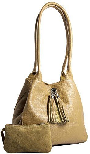 Womens Light in Real LIATALIA Reversible Leather Size Tan One ELLA Shoulder with Two Slouch Medium Suede Bag wTdqAqZ