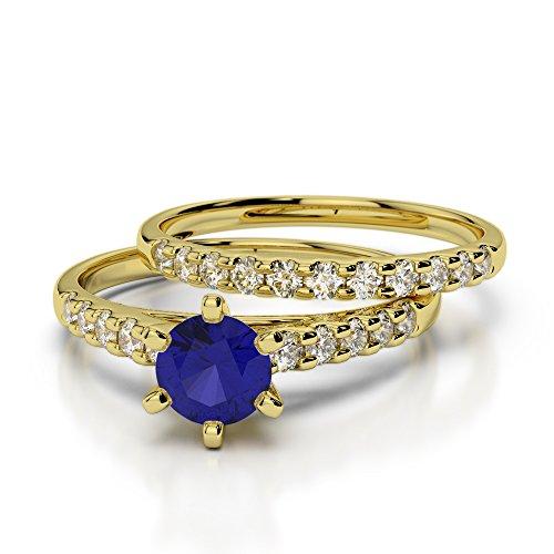 Or jaune 18carats 1/2ct G-H/VS sertie de diamants ronds Cut Saphir et mariée Bague de fiançailles et ensemble de Agdr-1153