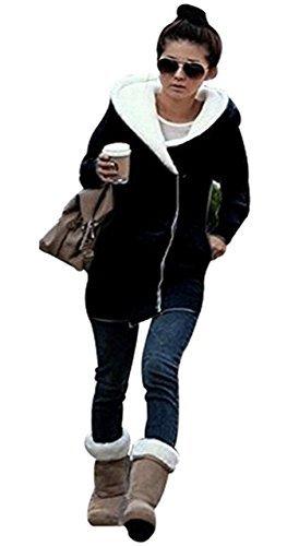 SKYLINEWEARS Women's Ladies Double Zip Hoodies Sweatshirt Jacket Coats Black S