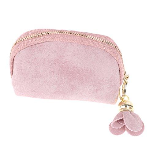 Faux Leather Purse Rose Pendant Zipper Women Coin Purse Wallet Mini Bag Money Pouch Handbag (Pink) from 37YIMU