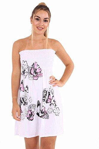 Condivisione Catodico Fascia Top Bianco Shirring Vestito Scintillio Signore Dall'oscillazione Floreale Tubo A Womens x6qv04znq