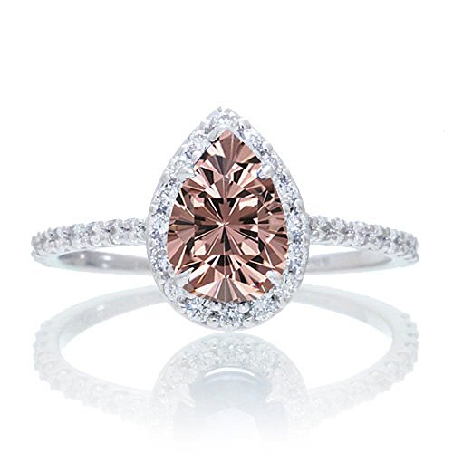 1.5 Carat Classic Pear Cut Morganite With Diamond Celebrity Engagement Ring...