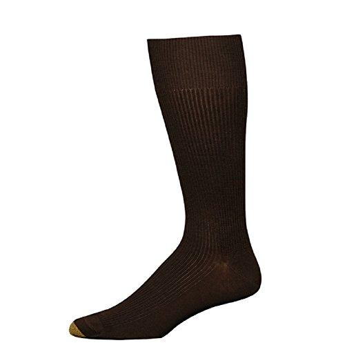 Gold Toe Men's Metropolitan Dress Sock, Brown, 3-Pack Sock Size (Brown Toe Socks)