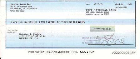 Sharon Stone Signed Original Check