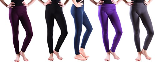 Girls Fleece Lined Leggings Aubergine-blk-Navy-Plum-Grey Small (Navy Plum)