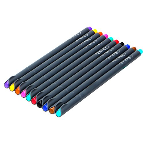 NUOLUX Fineliner Juego de bol/ígrafos de colores L/ápiz de colores pincel de dibujo Dibujo de 10 colores surtidos 0.38mm