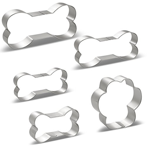 Dog Treat Cookie Cutter Set - 5 PCS - Dog Bones 4 Various Size, Large/5.3 Inches, Medium/4.5 Inches, Small/3.9 Inches, Mini/3 Inches and Paw Print - Stainless (Paw Print Dog Bones)