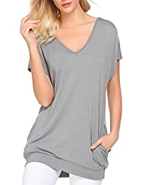 0c8d99a094f Women s V Neck Short Sleeve Casual Loose Top T-Shirts With Pockets