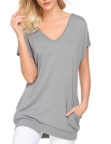 (Mofavor Women's Casual V-Neck Short Sleeves Pockets Solid Sweatshirt Tunics Blouse Tops Grey M)