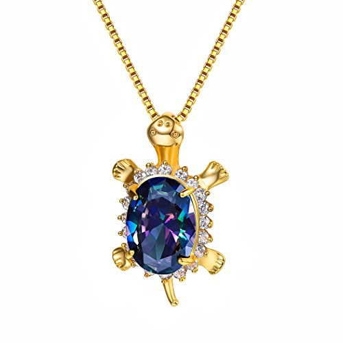 (Suplight Crystal Turtle Charm 18K Gold Plated Cubic Zirconia Rainbow Topaz Animal Beach Summer Jewelry Sea Turtle Pendant Necklace with Box Chain Gift for)