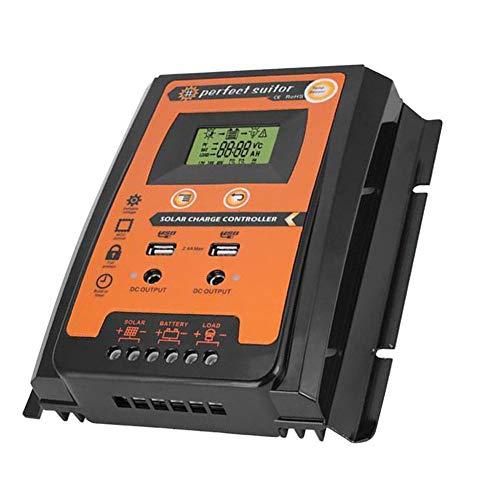 (ttnight Solar Controller 12V/24V LCD Automatic Regulator Solar Controller with Dual USB Port - 50A)