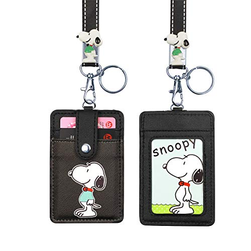 HASFINE ID Badge Holder Cute Credit Card Case Neck Pouch Lanyard with Cartoon Shield Keychain for Students Teens Boys Girls Women -