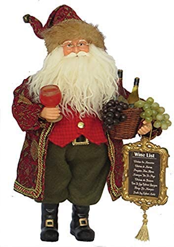 Santa s Workshop Wine Master Santa Figurine, 15 Tall, Red Gold