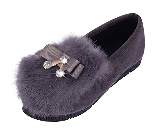 Women's Round Toe Flat Loafers Casual Shoes with Rhinestone Grey - 6