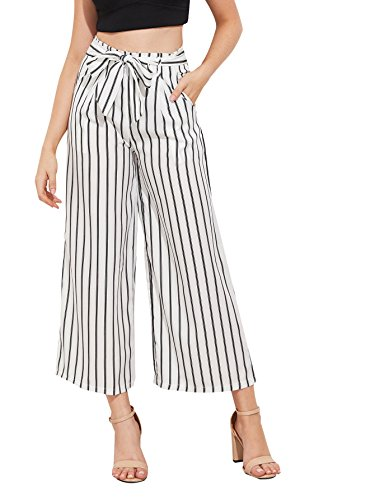 SweatyRocks Women's Striped High Waisted Lounge Wide Leg Palazzo Pants Capris White S (Pants Striped Cropped)