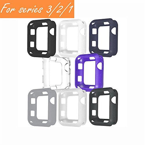 V1take Compatible with Apple Watch Case 38mm 42mm, [8 Pack] Slim Lightweight Shock-Proof Iwatch Protector Case Compatible with Apple Watch Series 3 Series 2 Series 1, Sport, Edition (Dark,42mm)