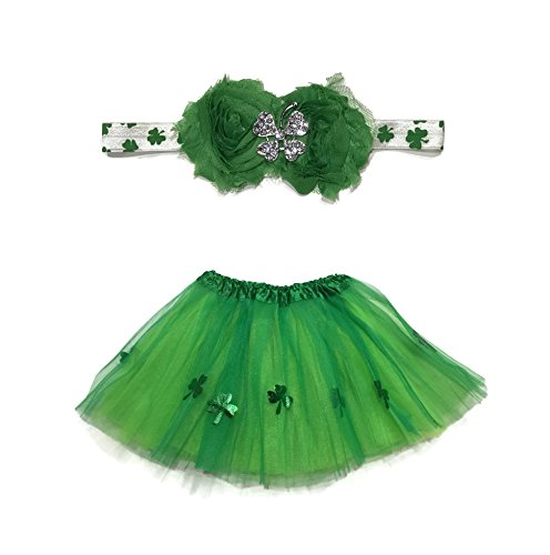 [Rush Dance Ballerina Lime Green St Patrick's Day Shamrock Clover Tutu & Headband] (Tutu Halloween Costumes For Teenage Girls)