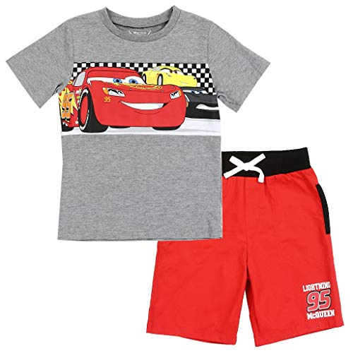 Disney Cars Little Boys' Toddler Lightning McQueen Knit Shorts Set, Gray (5T)
